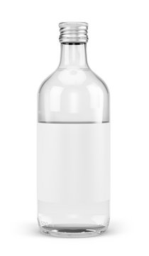 500 ml bottle mockup with blank white label isolated
