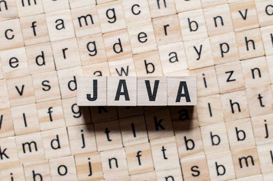Java programming language word concept