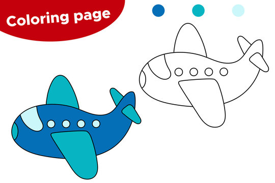 Vector illustration of black and white aircraft. Coloring book page for preschool kids. Cartoon plane.