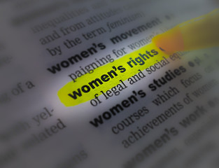 A close up of the a dictionary page showing the highlighted word: women's right