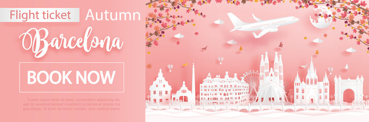 Fototapete - Flight and ticket advertising template with travel to Barcelona, Spain in autumn season deal with falling maple leaves and famous landmarks in paper cut style vector illustration