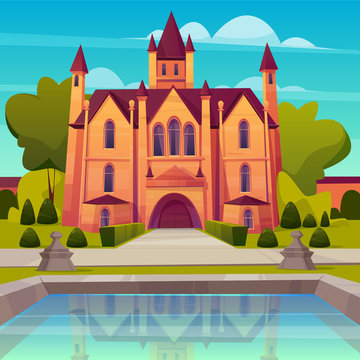 Medieval castle, luxury villa, mansion in victorian architecture style cartoon vector. Ancient house with towers and gate, elite real estate object with swimming pool or fountain in yard illustration