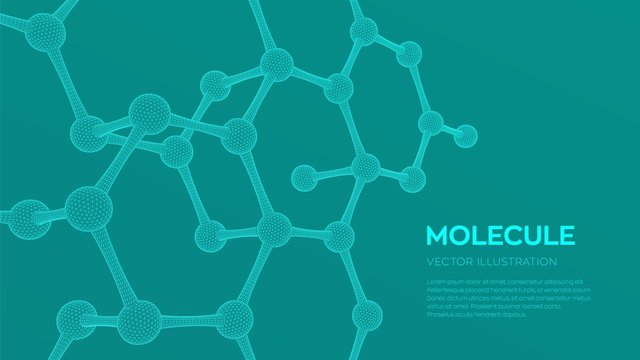 Molecule Structure. Dna, atom, neurons. Molecules and chemical formulas. 3D Scientific molecule background for medicine, science, technology, chemistry, biology. Vector illustration.