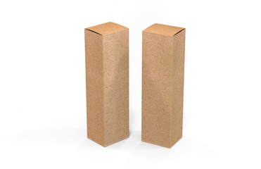 Tall corrugated cardboard shipping box, mock up template box on isolated white background, 3d illustration