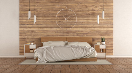 Minimalist master bedroom with wooden double bed