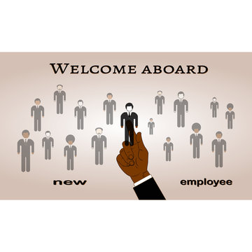 The hand selects a new employee from a variety of candidates.