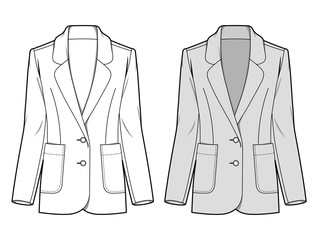 Outer Jacke fashion flat sketch template