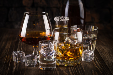 Acrylic Prints Kitchen Strong alcohol drinks - whiskey, cognac, vodka, rum, tequila.