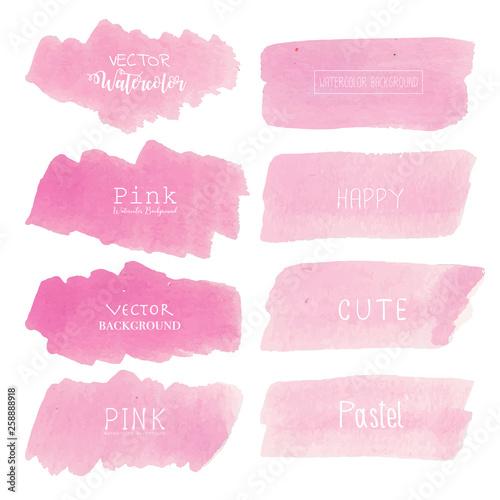 Pink Watercolor Background Pastel Watercolor Logo Vector
