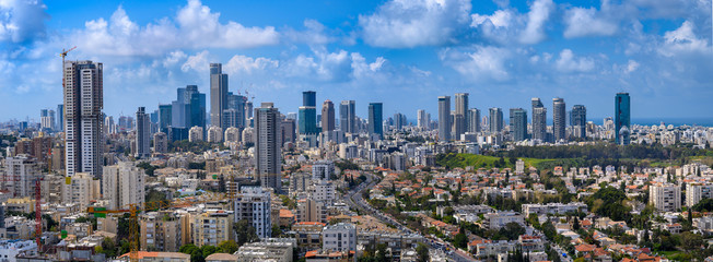 Panoramic cityscape of  Tel Aviv skyscrapers, Israel