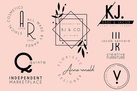 elegant clean minimal feminine logo template design collection