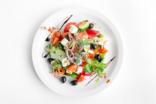 vegetarian salad on white background