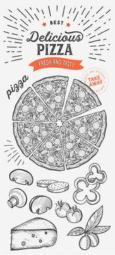 Pizza illustration for italian cuisine restaurant.