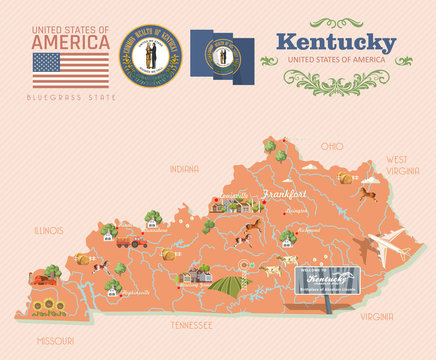 Advertising vector poster of travel to Kentucky, United States.