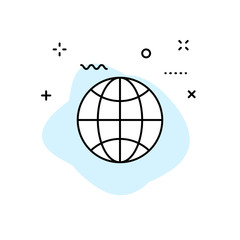 Globe and earth planet web icons in line style. Navigational Equipment, Planet Earth, Airplane, Map. Vector illustration.