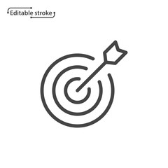 Target with arrow vector icon. Editable stroke.
