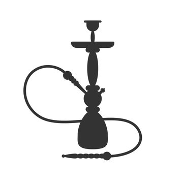 Hookah silhouette icon. Vector sign Isolated on white background. Shishas smoking hookah pipes.