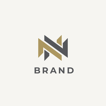 Abstract letter N logotype. Double N monogram. Modern N&N logo idea sign. Universal emblem vector icon.