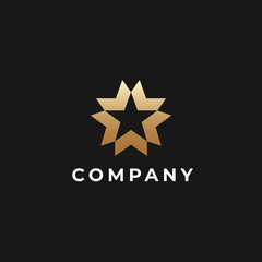 Abstract star logo template. Five  arrows business logotype. Victory, leadership, money, team, success symbol, Vector illustration.
