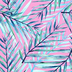 Summer watercolor colorful seamless pattern tropical leaves