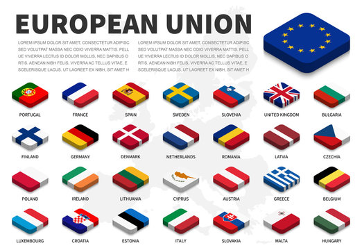 European union ( EU ) flag and membership on europe map background . Isometric top design . Vector .