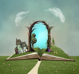 An open book with a surreal green countryside landscape - 3D mixed media illustration