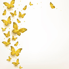 Decorative Golden Butterflies in a Flock
