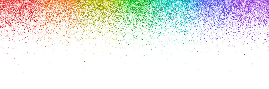 Rainbow falling particles, wide banner on white background. Vector