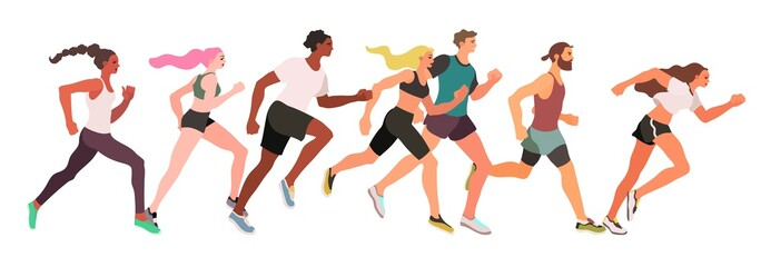 Marathon running group of men and women isolated on a white background - flat vector illustration.