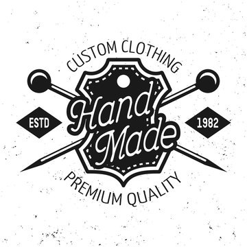 Tailor shop vector emblem with text hand made