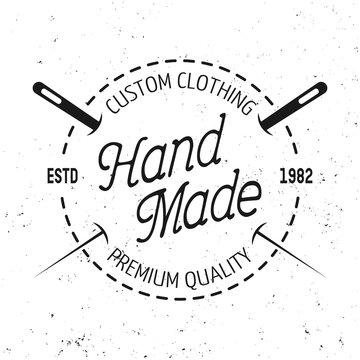 Tailor shop vector black round emblem with stitch