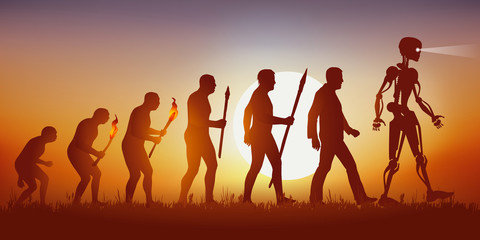 Concept of science fiction and artificial intelligence with the symbol of Darwin showing evolution from primitive man to modern man, up to android