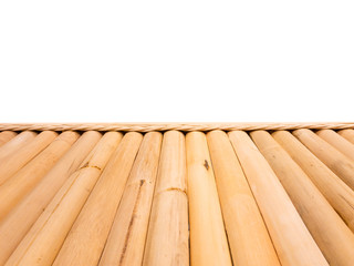 Perspecttive angle of vintage bamboo table isolated background in white close up.