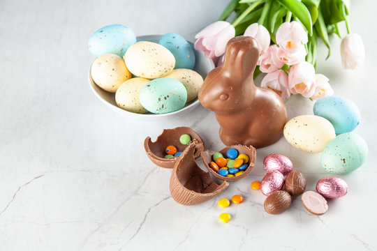 Chocolate Easter bunny and eggs