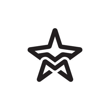 illustration logo combination from letter M with star and plane logo design concept