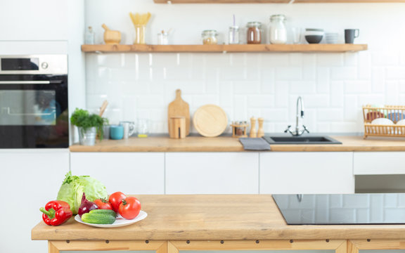 fresh vegetables on the background of the kitchen