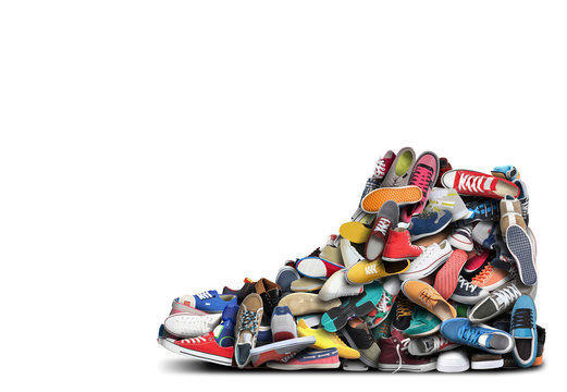 Big sneaker made up of different sneakers