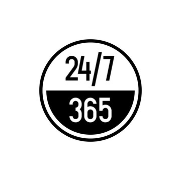 24 7 hours and 365 days icon. Any time working service or support symbol.