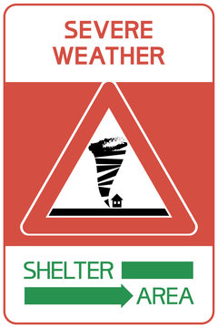 Severe weather. Shelter area. A sign indicating a territory that is protected from a hazardous health and life   disaster.