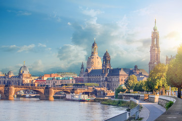 Cityscape Of Dresden At Elbe River And Augustus Bridge, Dresden, Saxony, Germany Wall mural