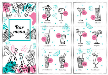 Cocktail menu design template with bottles, glasses and drink list. Vector outline hand drawn illustration with white background and color elements