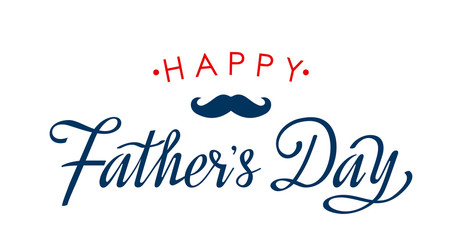 Happy Father's Day greeting card with hand on white background. flat vector