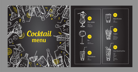 Cocktail menu design template and drink list. Vector outline hand drawn illustration with bottles and glasses on blackboard background