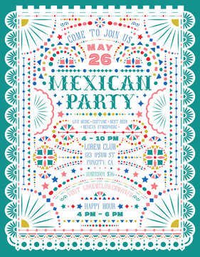 Mexican party announce poster template with paper cut elements.