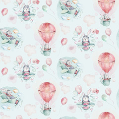 Hand drawing fly cute easter pilot bunny watercolor cartoon bunnies with airplane and balloon in the sky textile pattern. Turquoise watercolour textile illustration decoration