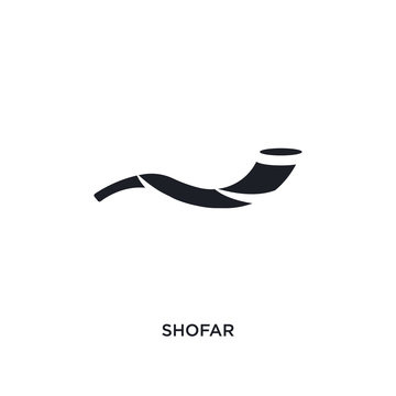 black shofar isolated vector icon. simple element illustration from religion concept vector icons. shofar editable logo symbol design on white background. can be use for web and mobile