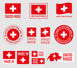 Fototapeta Swiss made icon set, made in Switzerland product labels obraz