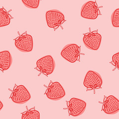Vector food illustration with strawberry. Doodle hand drawnstrawberry seamless pattern on white background. Background for gift wrapping paper, fabric, clothes, textile, surface textures, scrapbook.