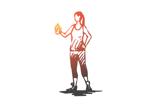 Sportive, woman, drink, water, active concept. Hand drawn isolated vector.