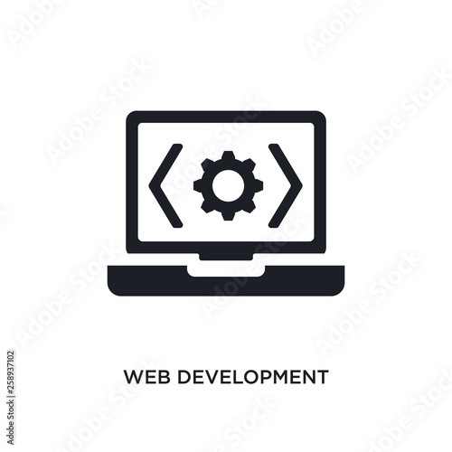 black web development isolated vector icon  simple element
